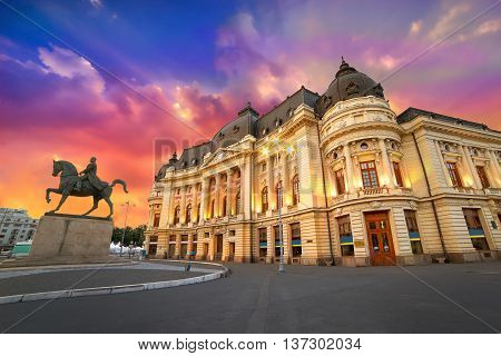 Bucharest City in Romania. Sunset at the University Library.