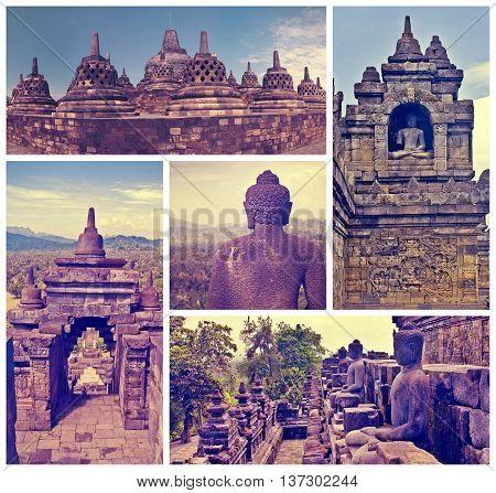 Collage of images Buddist temple Borobudur. Yogyakarta. Java Indonesia