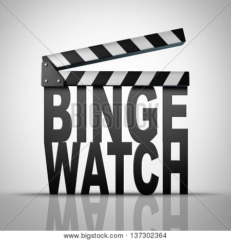 Binge watch and watching consecutive cable episodes of a television or TV series or multiple movie on demand views as a marathon viewing of media consumption concept as a 3D illustration of a filmmaking clapboard shaped as text.