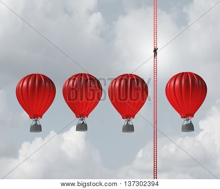 Alternate business route concept as a businessman climbing a long ladder above a group of air balloons as an innovative thinking metaphore with 3D illustration elements.