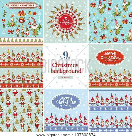 9 stylish holiday seamless patterns with cute gnomes.