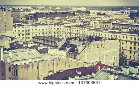 Old Film Retro Stylized Picture Of Warsaw Downtown.