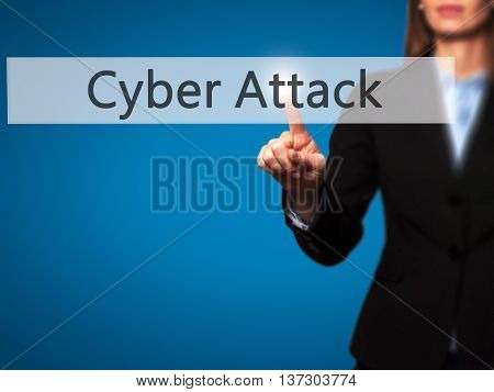 Cyber Attack - Female Touching Virtual Button.