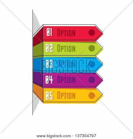 Vector layout of different color five banners infographic elements composition of five ribbons visual presentation of options.