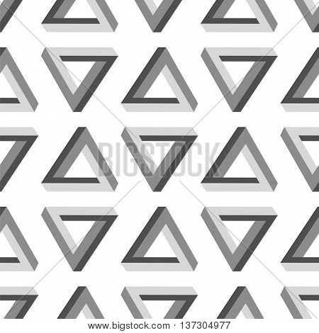 Seamless Triangles Pattern. Impossible Grey Triangle Background