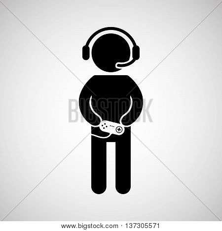 gamer playing in joystick icon vector illustration