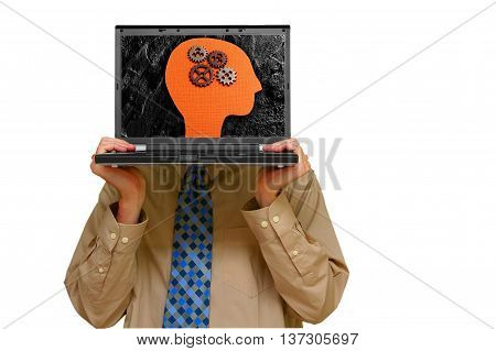 Business man holding a laptop with gears and head on screen
