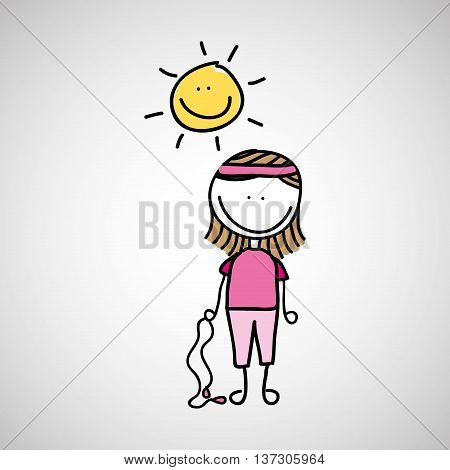 girl doing excercise under sun vector illustration