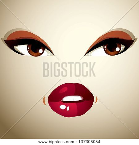 Parts of the face of a young beautiful lady with a bright make-up lips and eyes.