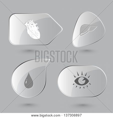 4 images: heart, liver, drop, eye. Medical set. Glass buttons on gray background. Vector icons.
