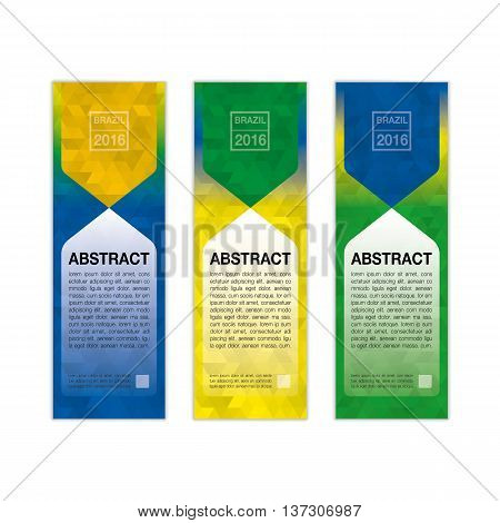 Abstract banner background in colors of Brazil. Tree colors concept for Brazil 2016. vector eps10.