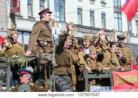 St. Petersburg, Russia - 9 May, People in military uniform in the memory of the shares, 9 May, 2016. Memory Action