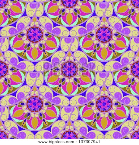 Vector Seamless Violet Color Floral Mandala Pattern. Seamless pattern for your design, invitation card, meditation, astrology, fabric and other wrapped projects. Mandala Pattern in swatches panel.