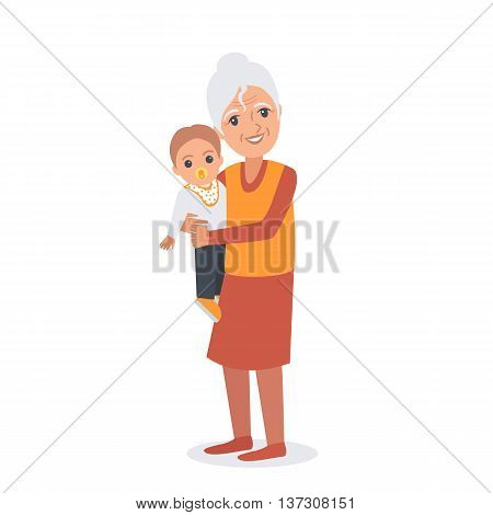 Portrait of elder woman with child. Vector illustration isolated.