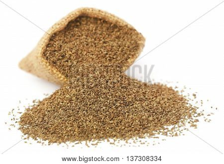 Close up of Ajwain seeds in jute bag
