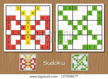 Sudoku puzzles color vector set with answers