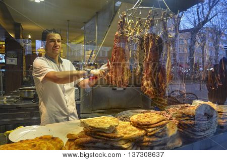 Istanbul Turkey - January 26 2014: Istanbul a famous boulevard with Women Market Buryan kebab in Zeyrek district. Buryan Puryan or Biryan also called Turkey's made in many parts of Bitlis Siirt and a meat dish. Perive also called in Arabic. Kebab is a der