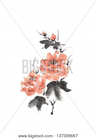 Japanese style sumi-e pink peony ink painting. Great for greeting cards or texture design.
