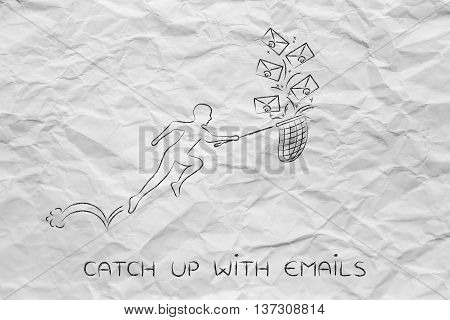Man With Net, Catch Up With Emails (envelope Icons)