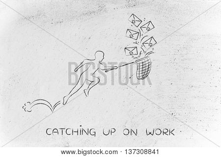 Man With Net Catching Up On Work (envelope Icons)