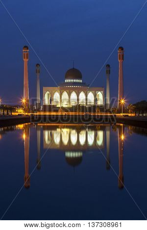 Central Mosque Beautiful on blue sky of sunset Hatyai Songkhla Thailand.It's public domain.