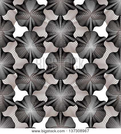 Grayscale vector ornamental pattern seamless art background decorated with lines best for graphic and web design. Geometric ornate overlapping decoration.