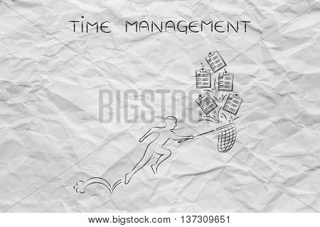 Man With Net Handling A Group Of Falling To Do Lists, Time Management