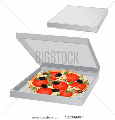 Pizza in a box, vector illustration, isolated on white background