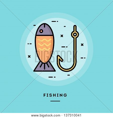 Fishing flat design thin line banner usage for e-mail newsletters web banners headers blog posts print and more