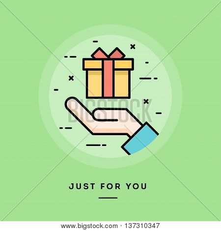 Hand holding a gift box flat design thin line banner usage for e-mail newsletters web banners headers blog posts print and more