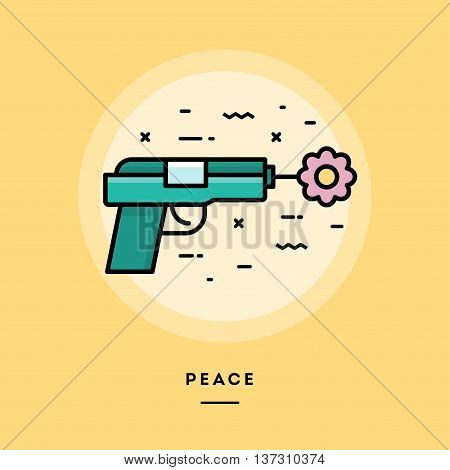 Gun shooting flower flat design thin line banner usage for e-mail newsletters web banners headers blog posts print and more