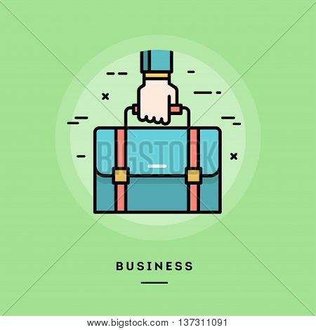 Hand holding a briefcase flat design thin line banner usage for e-mail newsletters web banners headers blog posts print and more