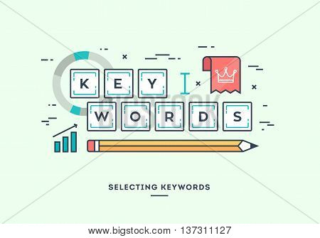 Selecting keywords for your website digital marketing concept flat design thin line banner.
