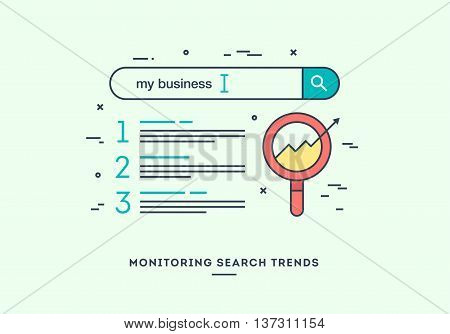Monitoring search trends digital marketing concept flat design thin line banner.