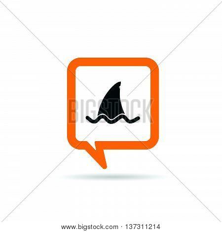 Square Orange Speech Bubble With Shark Icon Illustration