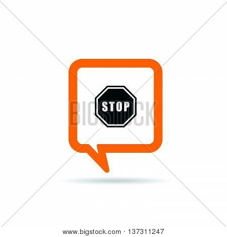 Square Orange Speech Bubble With Stop Sign Icon Illustration