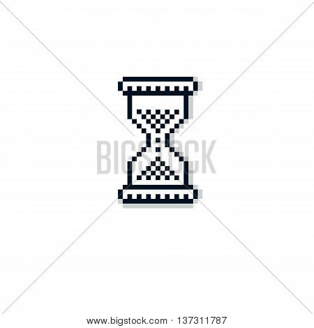 Vector pixel icon isolated 8bit graphic element. Simplistic hourglass sign endless time idea.
