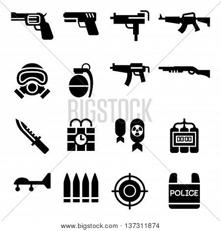 Weapon icon set Vector illustration Graphic design