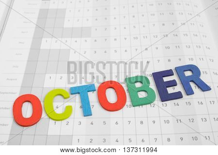 October - monthly on date number calendar paper - colorful uppercase letter October month