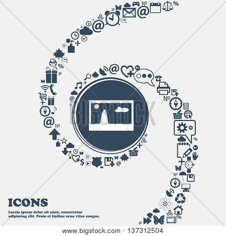 File Jpg Sign Icon. Download Image File Symbol In The Center. Around The Many Beautiful Symbols Twis