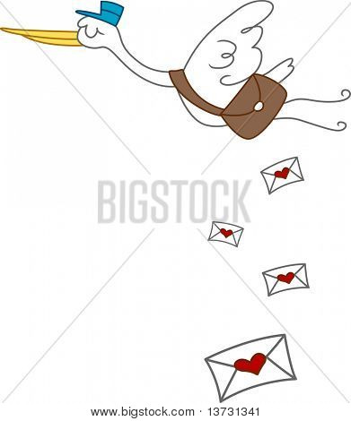 Illustration of a Stork Delivering Love Letters