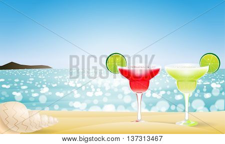 Summer seascape blur bokeh with two margaritas and a sea shell. Paradise island. Realistic vector illustration for web or application