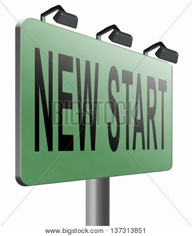 new fresh start or chance back to the beginning and do it again road sign billboard, 3D illustration, isolated, on white