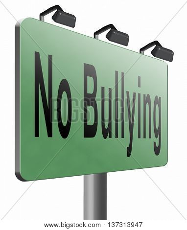 Stop bullying at school or at work stopping an online internet bully, 3D illustration, isolated, on white