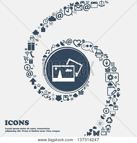 Copy File Jpg Sign Icon. Download Image File Symbol In The Center. Around The Many Beautiful Symbols