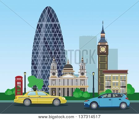 Modern and historical buildings in London with taxi and car. Vector illustration.