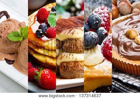 collage of mixed dessert with tarte, tiramisu and ice cream