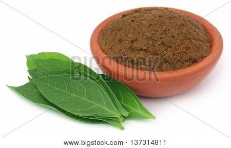 Ayurvedic henna leaves with paste in a pottery