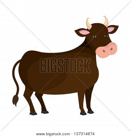 Brown bull farm animal cartoon, isolated icon graphic design.