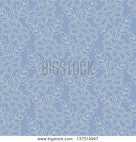 Daisy stylized pattern on the blue background